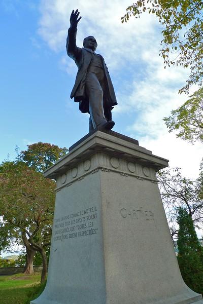 Statue of Jacques Cartier in Quebec. The inscribed quotation reads is remarkable in its vacuousness: 'Dans un pays comme le nôtre, il faut que tous les droits soient sauvegardés, que toutes les convictions soient respectées.'