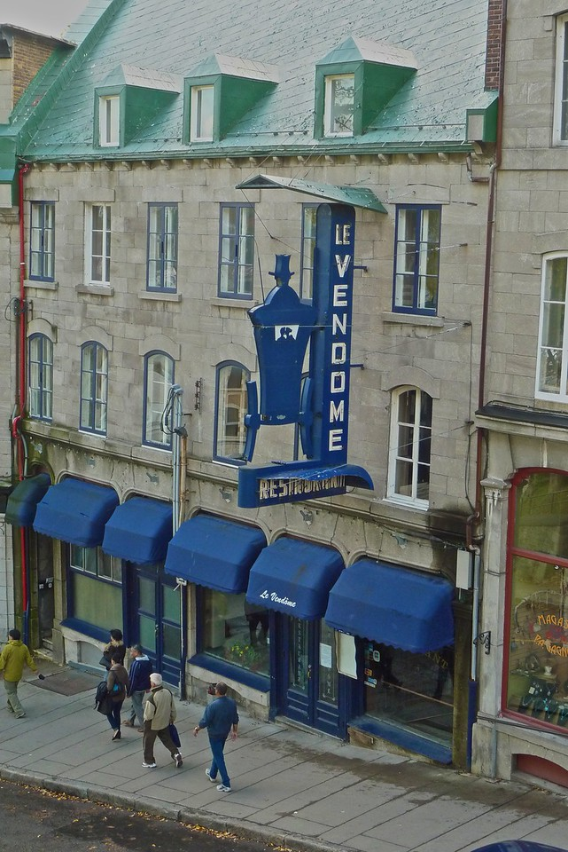 Shops and shoppers in Quebec.
