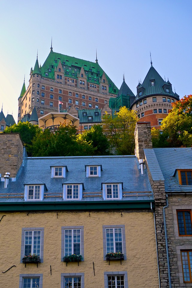Looking up at the Château Frontenac hotel.