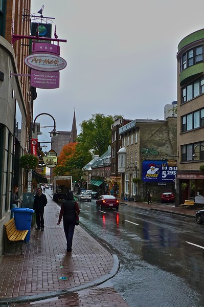 Looking down the rue St-Jean towards the old town of Quebec, the only remaining walled city in North America, on an especially wet day.