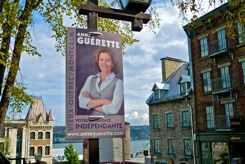 Another campaign poster for a candidate in the forthcoming Quebec municipal elections.