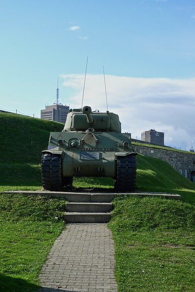 A tank on display inside the Quebec Citadel, which is the base of the Royal 22è Régiment of the Canadian Army. It is the only entirely Francophone unit in the army (although all officers throughout the army must be bilingual in both official languages), which is why in 1928 George V approved the French name for the regiment.