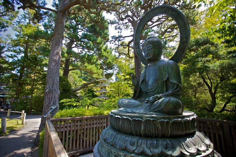 A bronze Buddha in the Japanese Tea Garden in San Francisco.