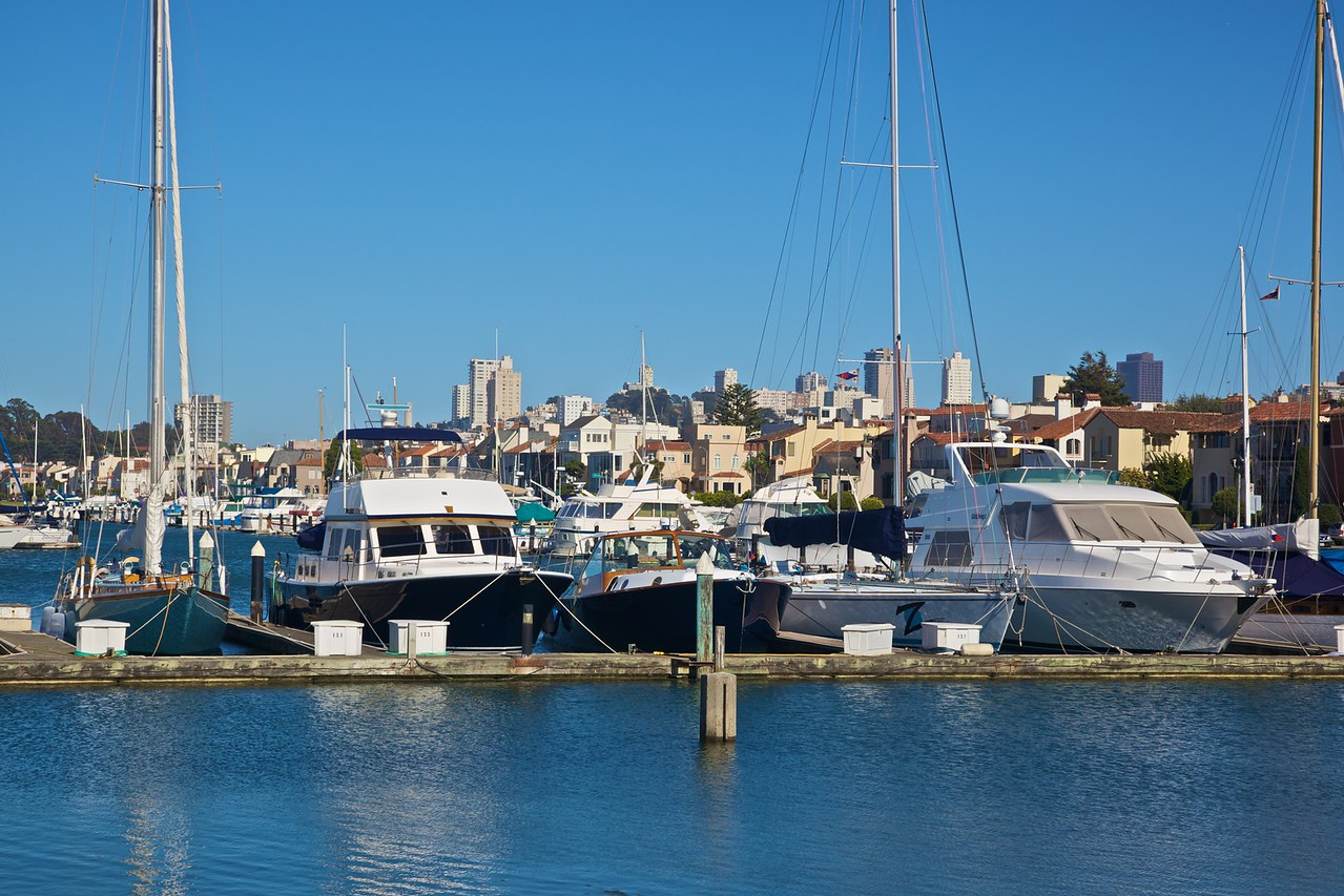 Boats moored in a marina in the San Francisco Bay.