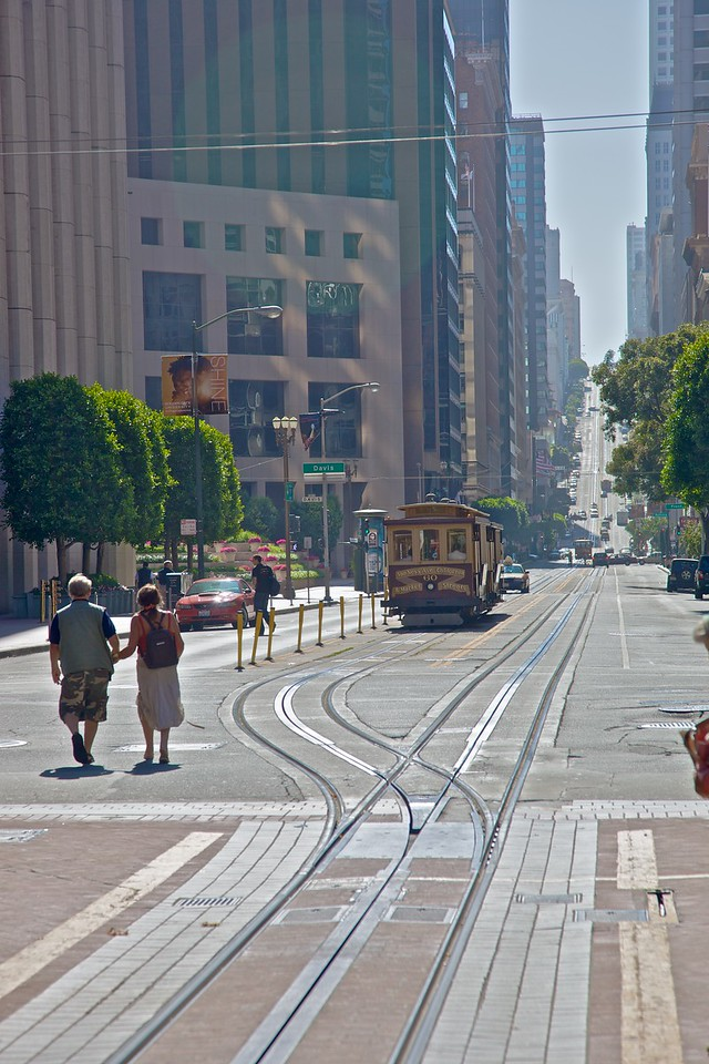 A cable car getting ready to reverse at the end of its line in downtown San Francisco.