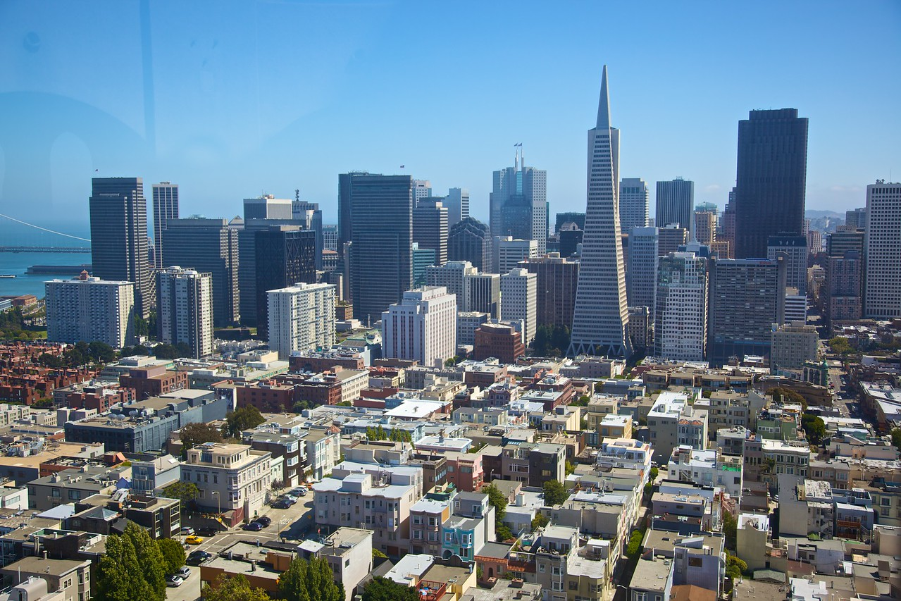 The buildings of downtown San Francisco seen from Coit Tower in Telegraph Hill.