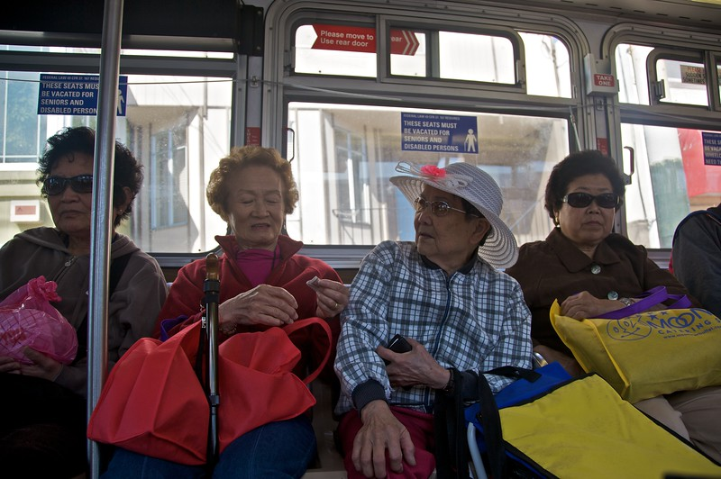 The ladies on the bus, in San Francisco. I can report that, despite what the song might have led you to believe, they did not go 'Yap, yap, yap.'