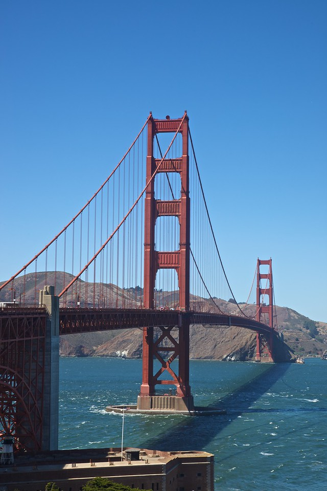 The Golden Gate Bridge from the south (San Francisco) side.