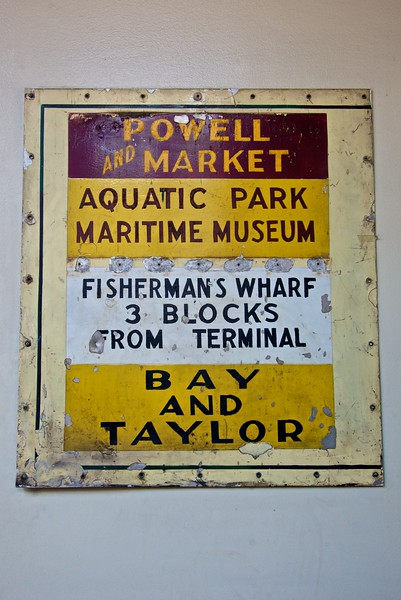 An old enamel sign from a cable car, in the cable car museum in San Francisco.