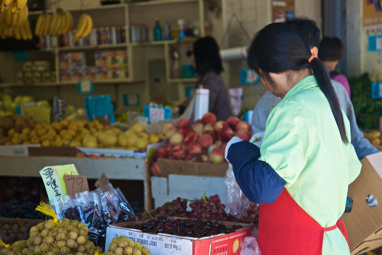 Selling fruit at a 'real' Chinese grocery in Chinatown in San Francisco.
