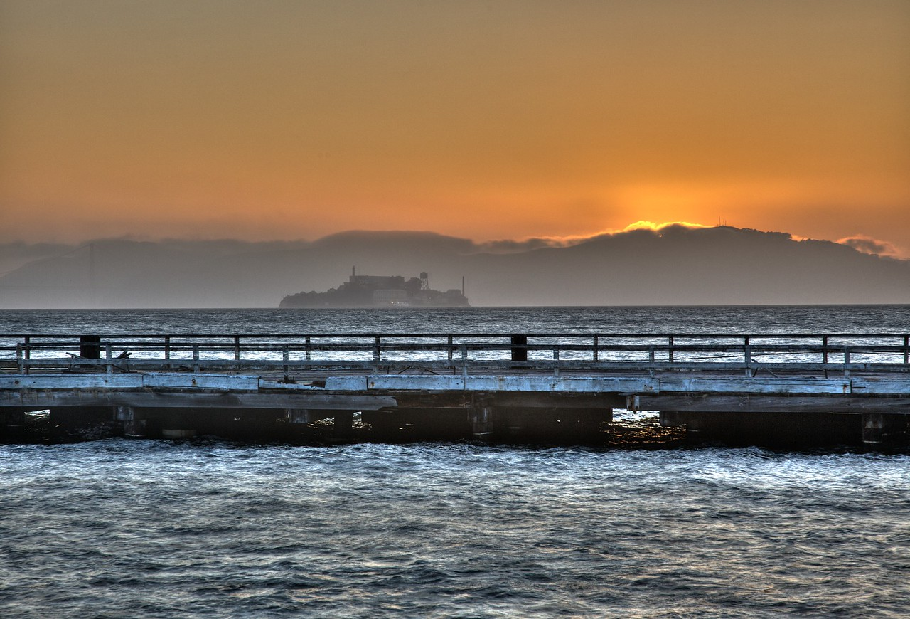 Alcatraz at sunset, as seen from Treasure Island.