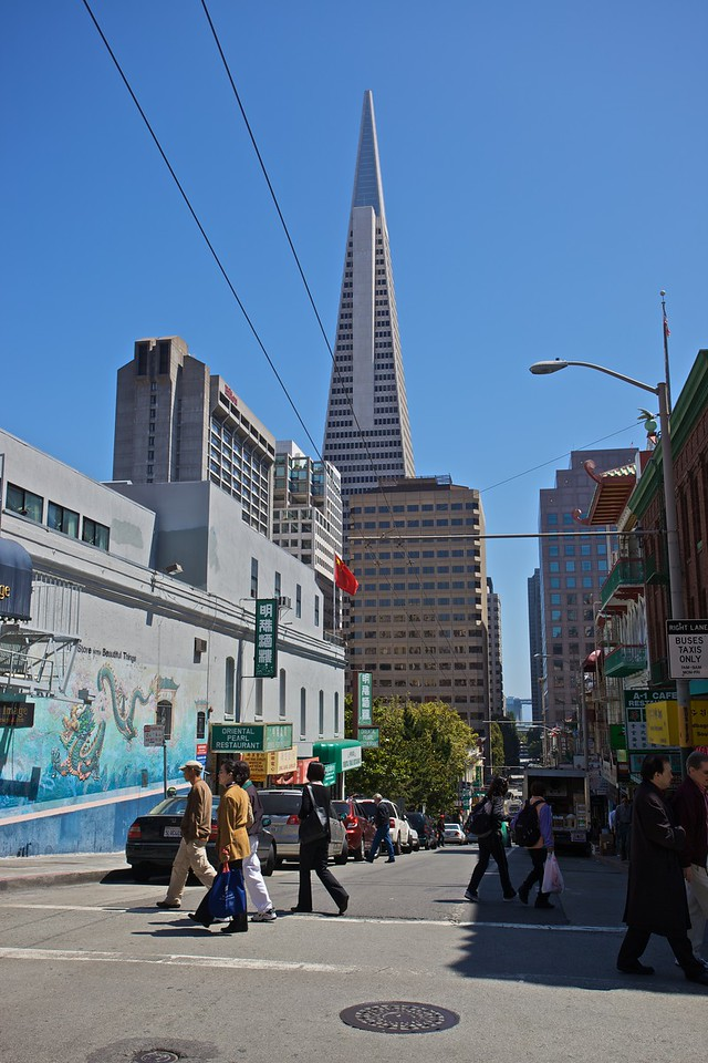 In Chinatown in San Francisco. In the background you can see the Transamerica Pyramid.