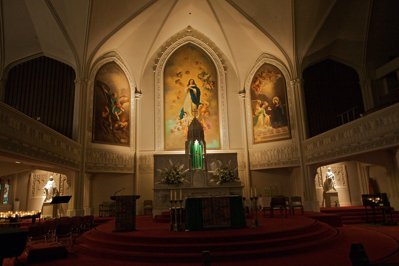 Inside Old St Mary's cathedral in San Francisco.
