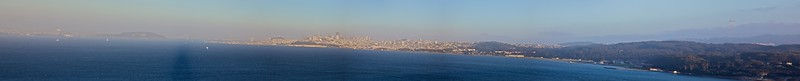 Panorama from the Golden Gate Bridge. The two main shadows you can see in the water are of the bridge itself.