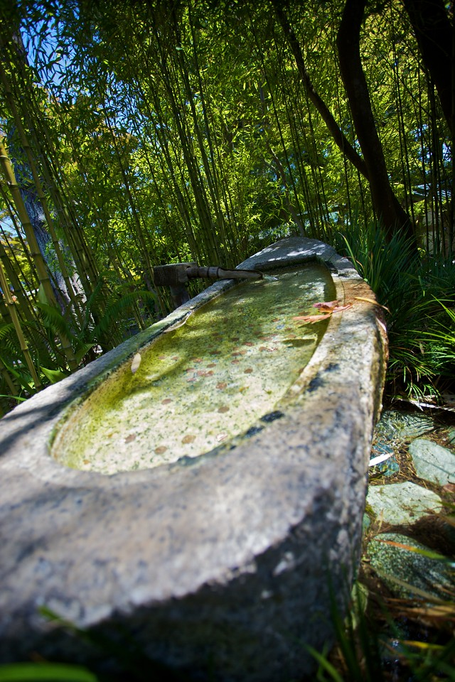 A Japanese fountain in the Japanese Tea Garden in San Francisco.