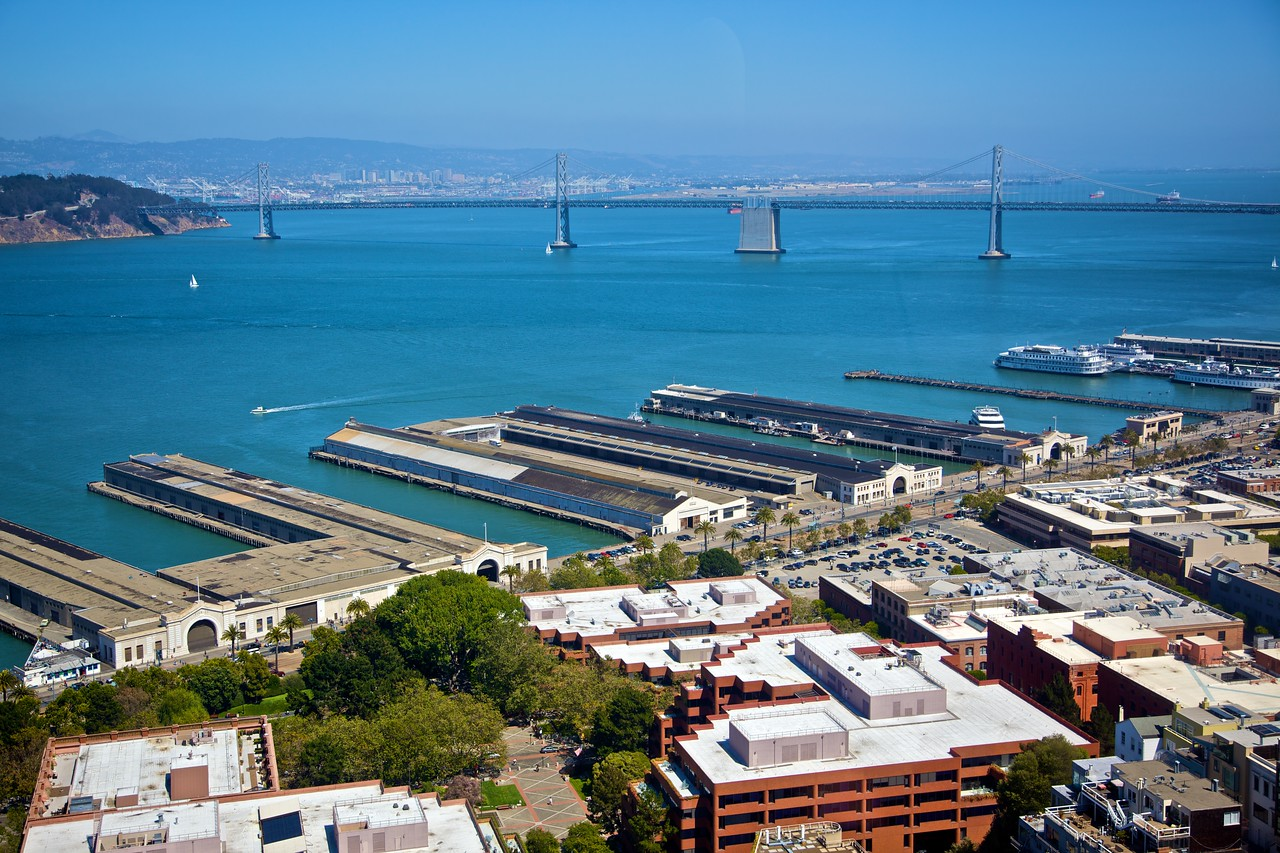 View over the San Francisco Bay, including the Oakland–San Francisco Bay Bridge, from Coit Tower in Telegraph Hill.