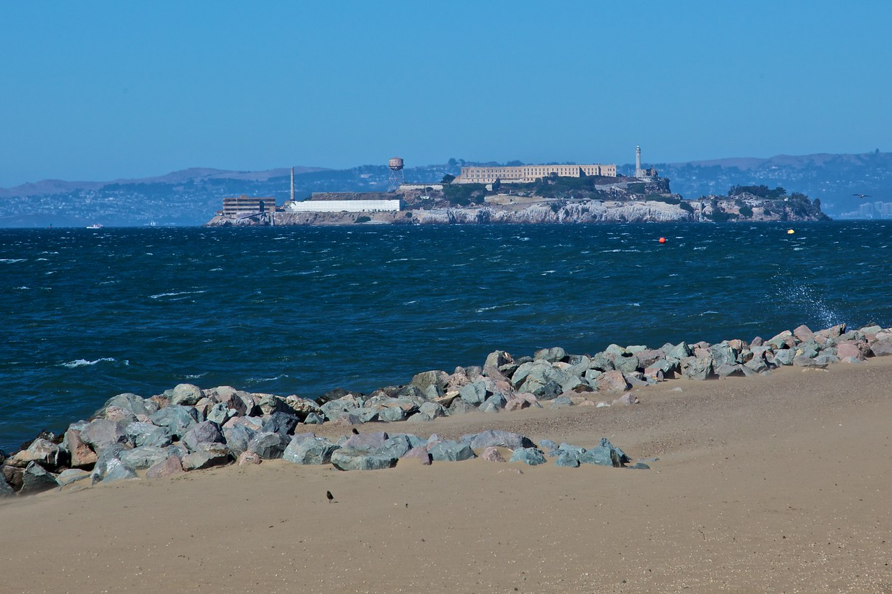 Looking towards the island of Alcatraz, the former high-security federal prison in the San Francisco Bay.