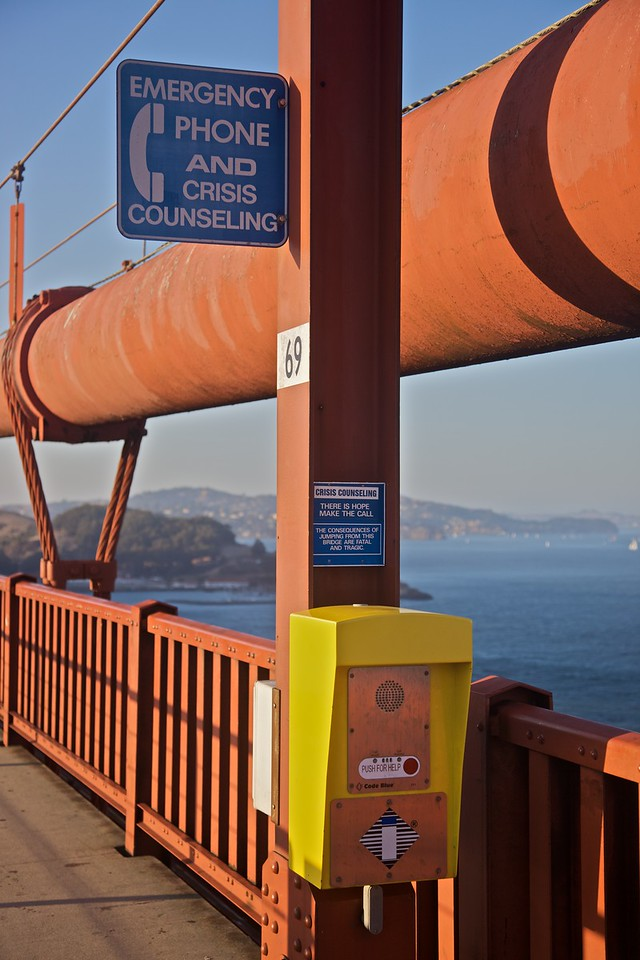 "I saw at least three of these telephones along the length of the Golden Gate Bridge when I walked across. The bridge is the site of a huge number of suicides every year, such that a <a href=""http://en.wikipedia.org/wiki/The_Bridge_(2006_film)"" title=""The Bridge (2006 film) - Wikipedia, the free encyclopedia"">controversial documentary</a> was made covering the phenomenon."