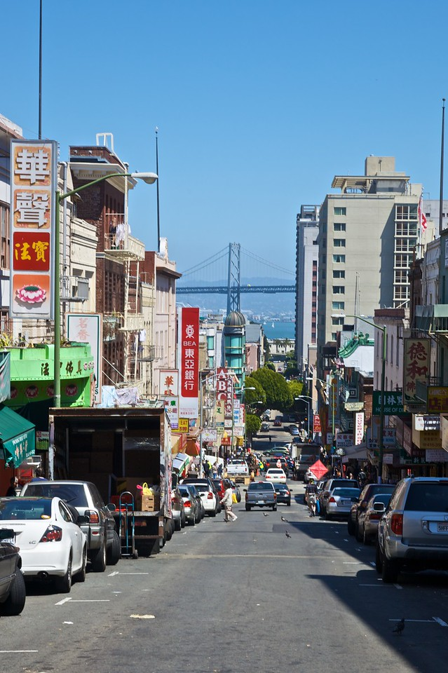 Looking towards the Oakland–San Francisco Bay Bridge from Chinatown.