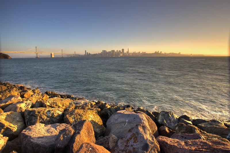 View towards San Francisco from Treasure Island, a manmade island in the San Francisco Bay.