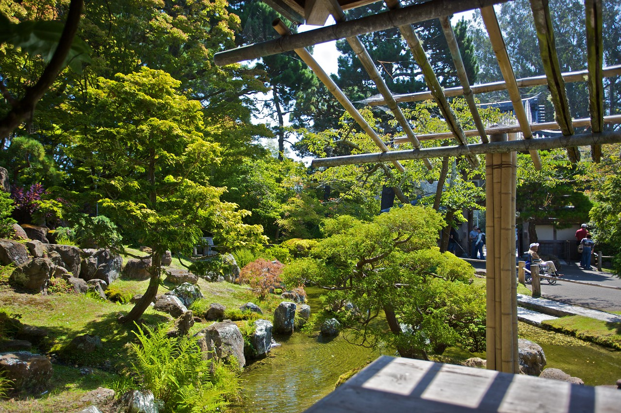 View from the teahouse the Japanese Tea Garden, in the Golden Gate Park in San Francisco.