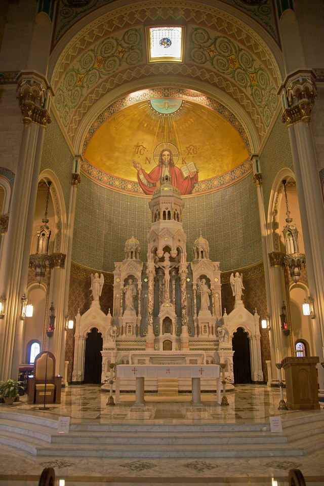 Inside the church of Sts Peter and Paul in San Francisco.