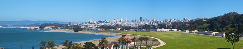 View over downtown San Francisco from the Presidio (which is where the Golden Gate Bridge meets the San Francisco side).
