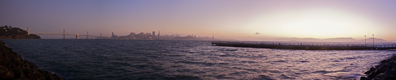 A panorama of the Bay Bridge, downtown San Francisco, and Alcatraz, as seen from Treasure Island.
