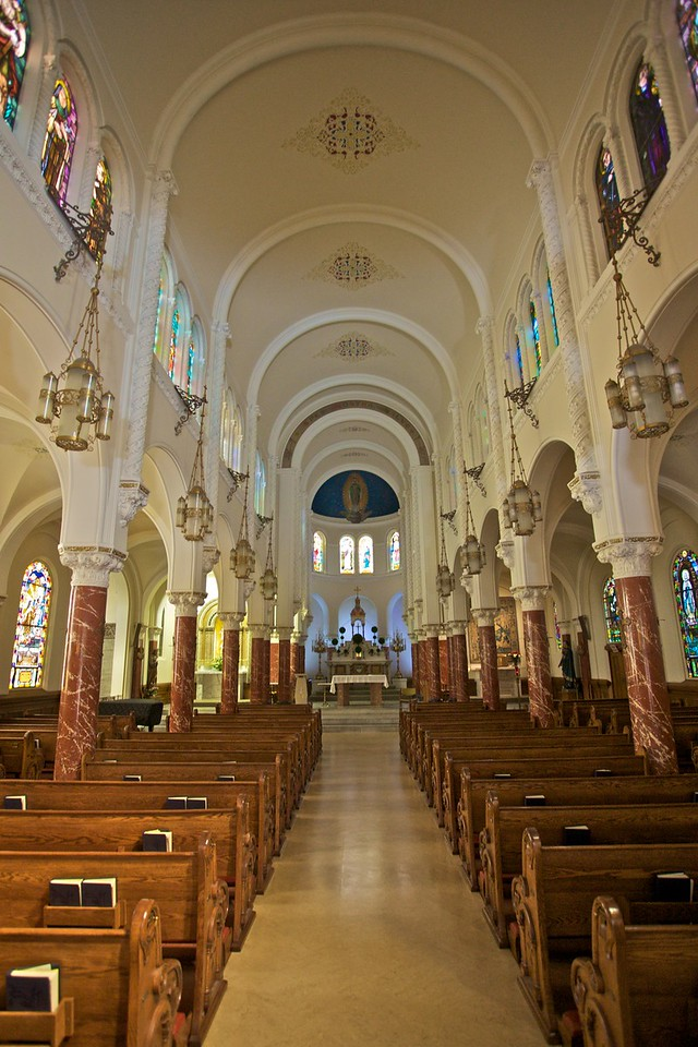 Inside the French Marist church of Notre Dame des Victoires.