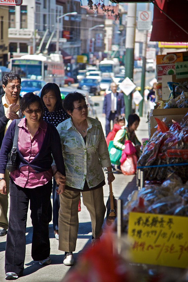 Chinese ladies shopping at 'real' Chinese stores in Chinatown in San Francisco.
