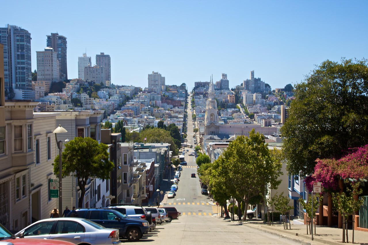 Streets going down and up in San Francisco.
