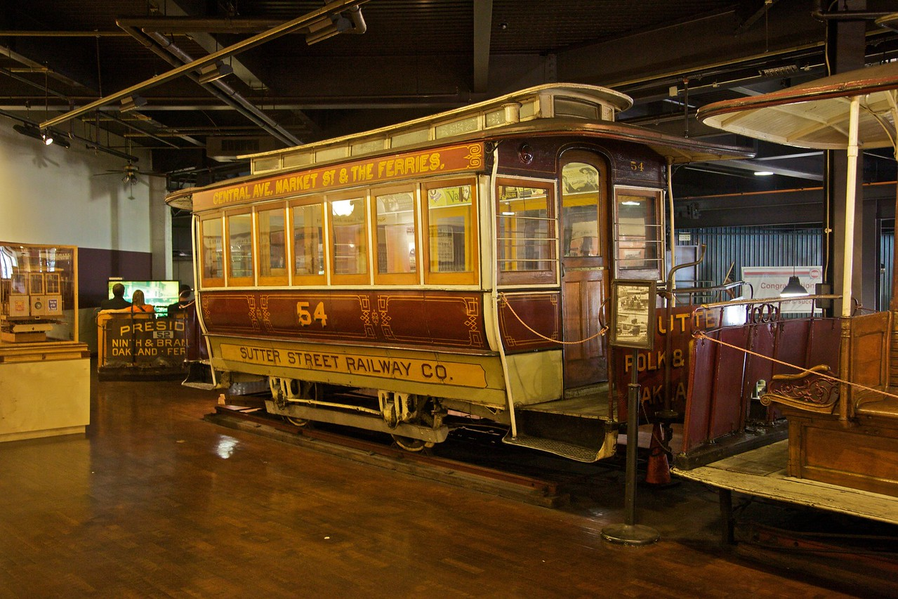 This cable car, now out of service, was owned by one of the numerous former cable car operators in San Francisco. It has been preserved in the cable car museum.