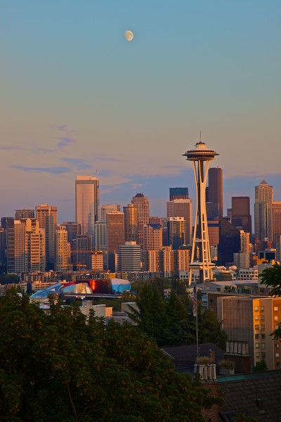 Seattle at sunset.
