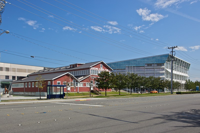 The Boeing 'Red Barn', part of the original Boeing factory, next to the Museum of Flight in Seattle.