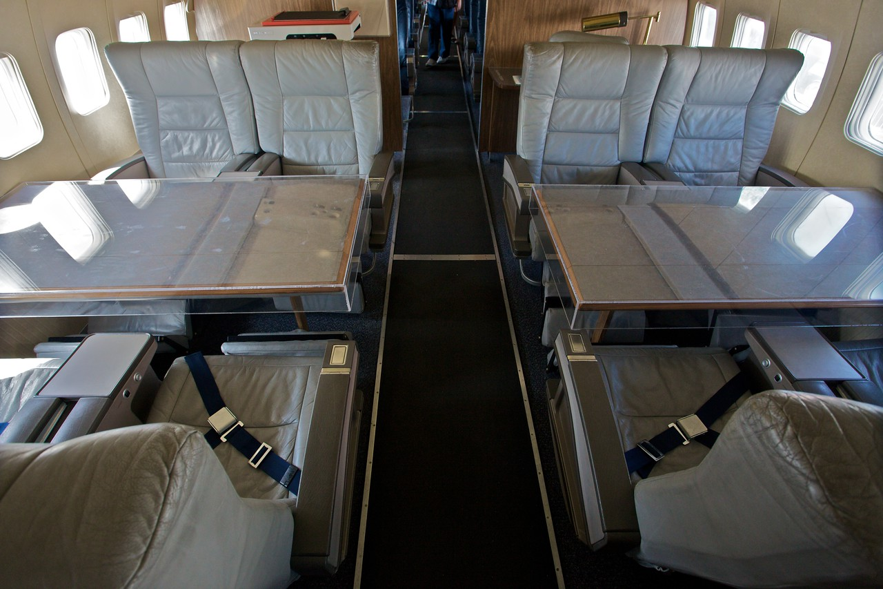 Conference tables in the presidential plane on display at the Museum of Flight in Seattle.