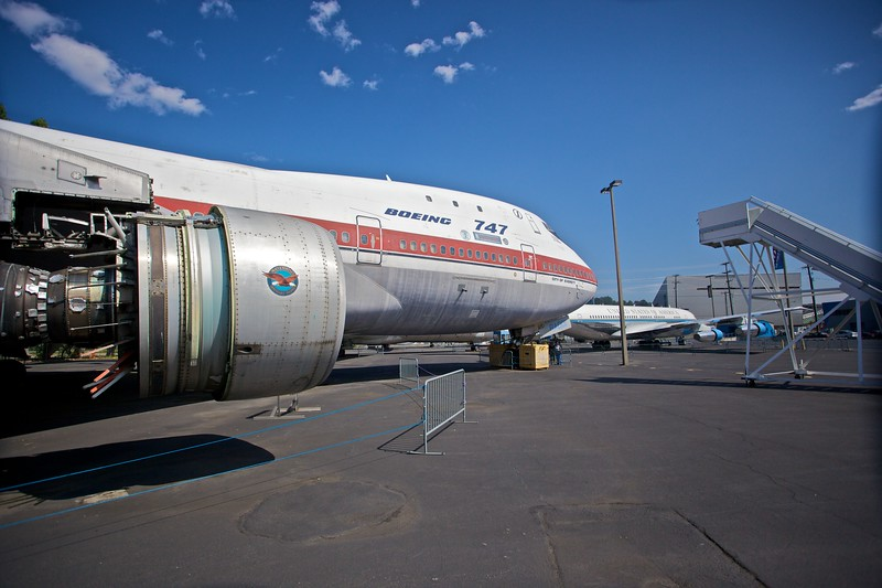 The prototype Boeing 747(-100), <cite>City of Everett</cite>, on display in the airfield at the Museum of Flight in Seattle.