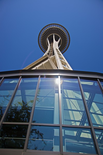The Space Needle was built for the 1962 World's Fair (the Century 21 Exposition), which had a special 'space' focus. At 605 feet, it no longer retains the record of tallest building west of the Mississippi. The lift to the observation deck travels at 10mph and takes only 43 seconds; from the top you can of course see all of Seattle, but on a good day you can also see the Olympic Mountains, the Cascade Mountains, and Mount Rainier. The day that I went up, however, was not especially good: the distant mountains were not clearly visible.
