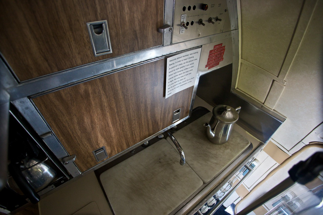 "The galley on board the presidential C-137 on display at the Museum of Flight in Seattle. I was particularly amused by the <a href=""http://www.passiveaggressivenotes.com/"" title=""passive-aggressive notes dot com"">passive-aggressive note</a> left for onboard crews by the ground staff at Andrews Air Force Base."