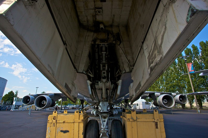 View underneath the nosecone of the prototype 747 into the forward wheel bay and back to the wings.