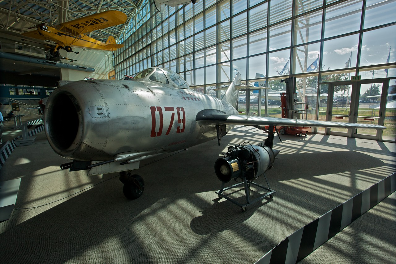 A Mikoyan-Gurevich MiG-15 on display at the Museum of Flight in Seattle. The MiG-15 was developed by the Soviet Union after the Second World War.