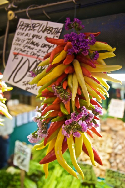 Chilli-Pepper Wreaths for sale in Pike Place Market.