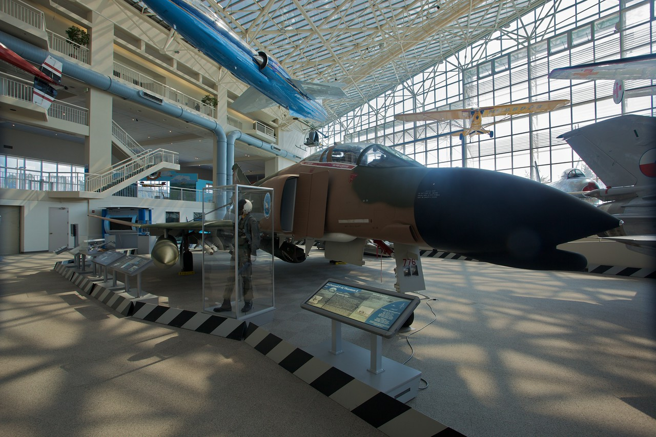 A McDonnell F-4C Phantom II, as flown by the U.S. Navy, Air Force and Marine Corps, on display at the Museum of Flight in Seattle. It is described as 'brutishly ugly'.