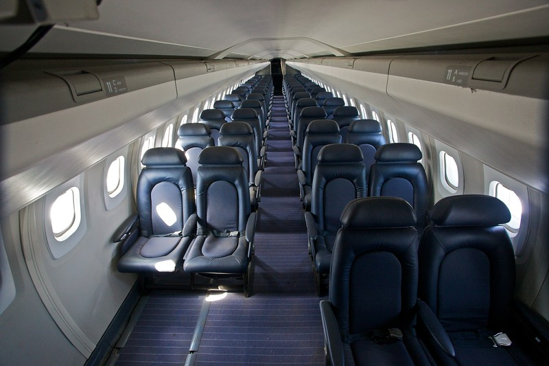 Inside the cabin of the British Airways Concorde on display at the Museum of Flight in Seattle.