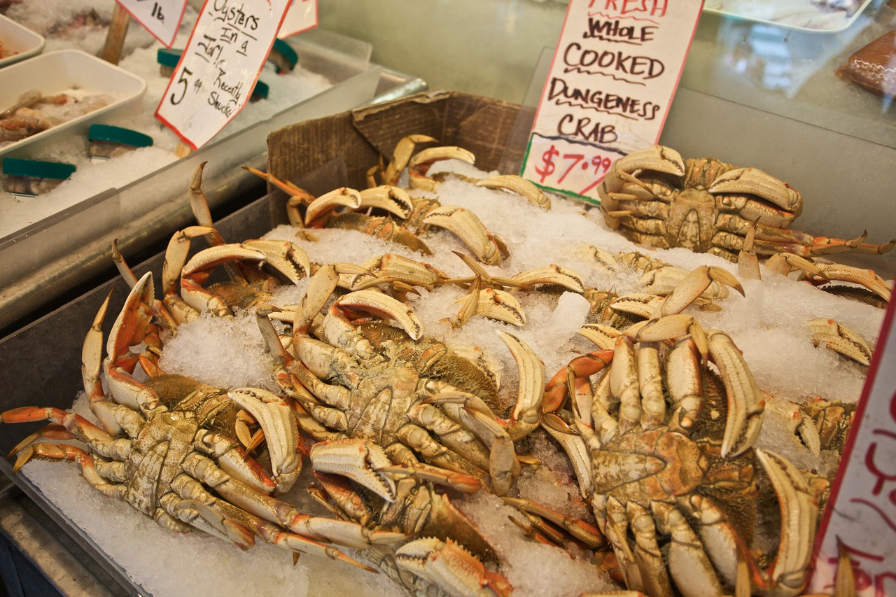 Crab for sale in Pike Place Market in Seattle.