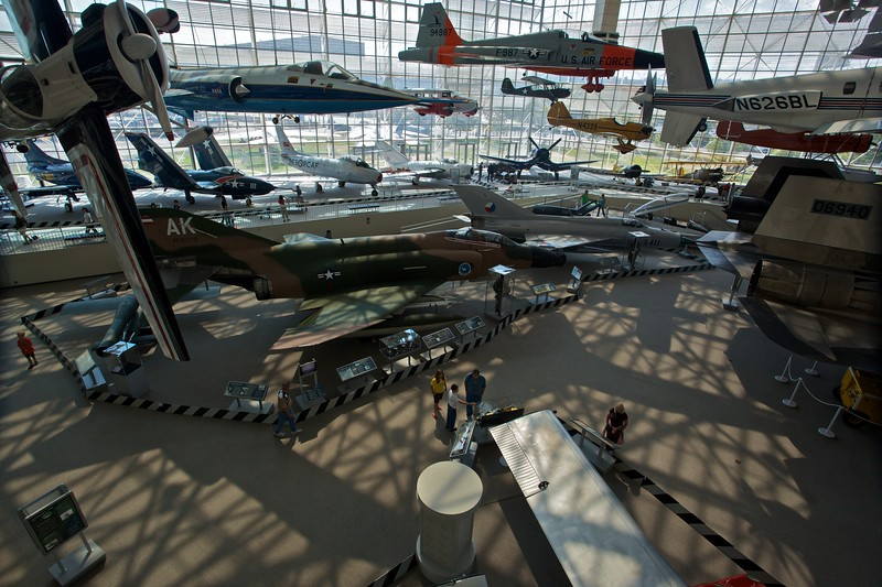 Inside the main hall of the Museum of Flight in Seattle.