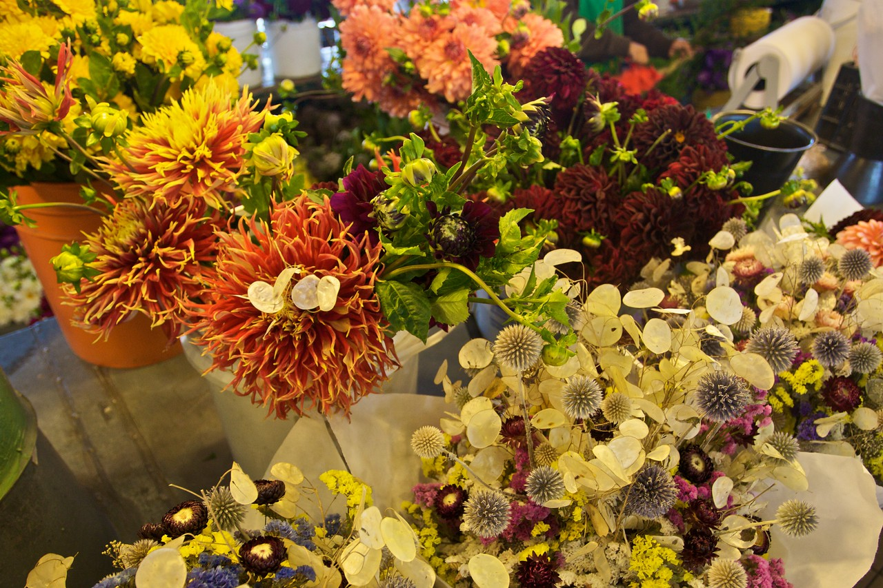 Flowers for sale in Pike Place Market in Seattle.