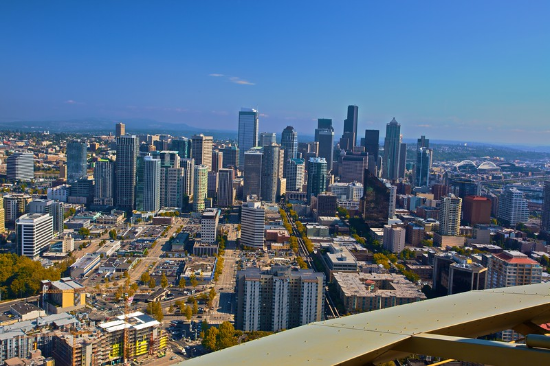View over downtown Seattle from the observation deck of the Space Needle.