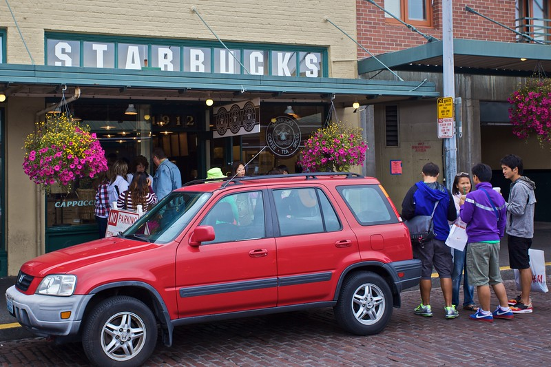 The first Starbucks outlet in Seattle—in Pike Place—where the firm's founders originally sold coffee beans and coffee-making equipment. In fact the <strong>first</strong> first outlet was in Pike Place Market itself; it was later re-located to Western Avenue, and then moved to its current location at 1912 Pike Place. The justification for calling this location the first Starbucks is that it moved to its present location before any other Starbucks outlets were opened.