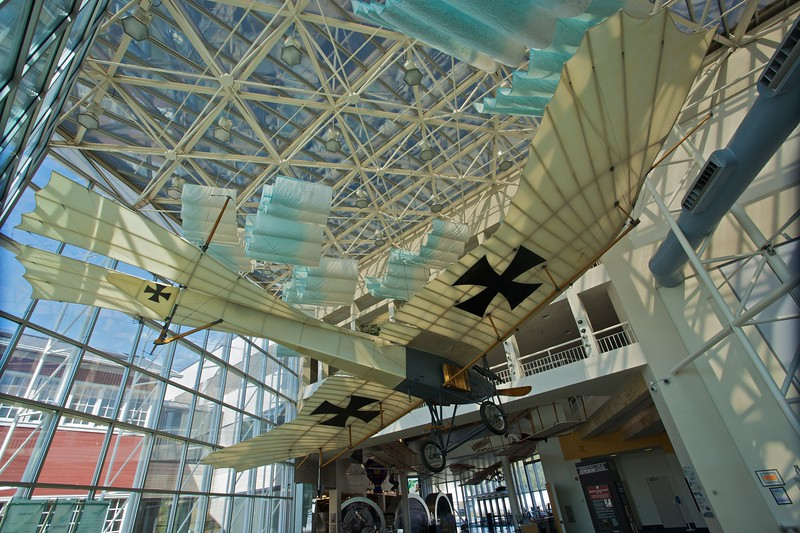 A reproduction of the German Rumper Taube ['Dove'] 1913 plane on display at the Museum of Flight in Seattle. A large number of planes of this type were built for use by the German military in the Great War.