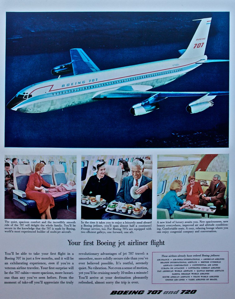 'Your first Boeing jet airliner flight': a poster advertising the benefits of Boeing's first two passenger jet aircraft, the 707 and 720 (as seen at the Museum of Flight, Seattle).